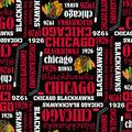 Chicago Blackhawks Cotton Fabric -Writing