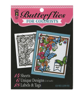 Adult Coloring Book-Hot Off The Press Butterflies
