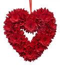 Valentine\u0027s Day Decor Wood Chip Flower Heart Wreath-Red
