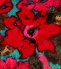 Stretch Panne Velour Fabric 58\u0022-Turquoise & Fuschia Floral