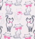 Anti-Pill Fleece Fabric 59\u0022-Sketched Cat With Bow
