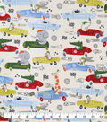 Snuggle Flannel Fabric-Animals In Race Cars
