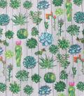 Anti-Pill Plush Fleece Fabric-Cacti On Wood