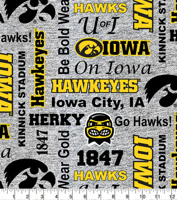 Iowa Hawkeyes Fleece Fabric-Heather Verbiage