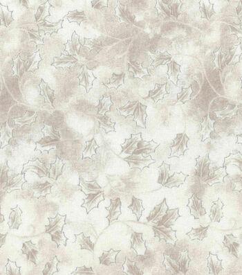 "Christmas Cotton Fabric 43""-Holly Scroll Cream On Cream"