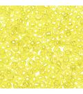 Glass Seed Beads, Transparent Rainbow Finish, Yellow