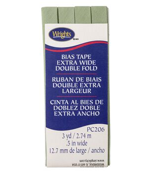Wrights Extra Wide Double Fold Bias Tape 1/2''x3 yds-Sage