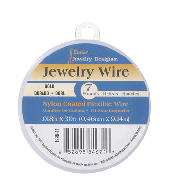 Gold Colored Nylon Coated Jewelry Wire, 7 strands, 30ft.