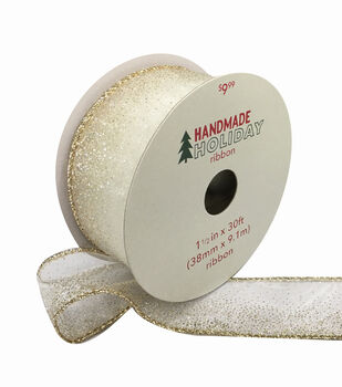 Handmade Holiday Christmas Sheer Ribbon 1.5''x30'-Gold Glitter Ombre