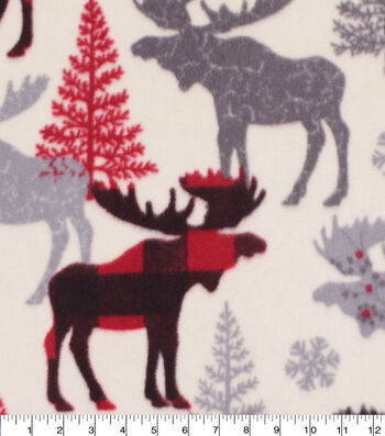 Anti-Pill Plush Fleece Fabric-Aspen Red Black Pattern Trap Moose