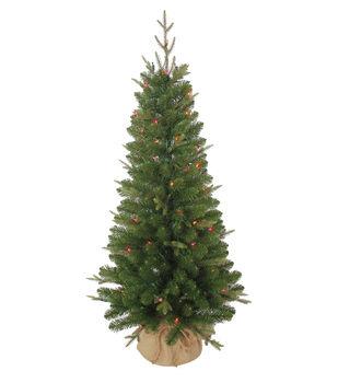 makers holiday christmas 4 pre lit tree with burlap base - Joann Fabrics Christmas Decorations