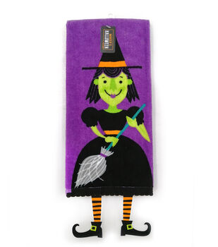 Maker's Halloween Decor 16''x26'' Towel with Trims-Figural Witch