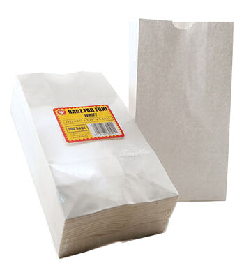 "Gusseted Flat Bottom Bags 4-1/2""X2-1/2""X8-1/2"" 100/Pkg-White"