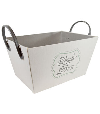 Medium Laundry Storage Fabric Bin with Leather Handle-Loads of Love