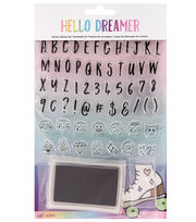 American Crafts Hello Dreamer 61 pk Acrylic Stamp Set-Alpha, , hi-res