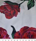 Gianna Silk Blend Printed Taffeta Fabric-Large Floral on White