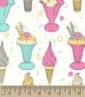 Vintage Ice Cream Print Fabric
