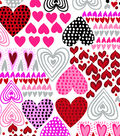 Snuggle Flannel Fabric -Pink Love Hearts
