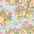 Easter Cotton Fabric-Bunnies And Tulips