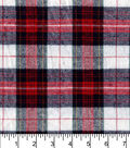 Flannel Shirting Fabric -Red Navy Gold Metallic