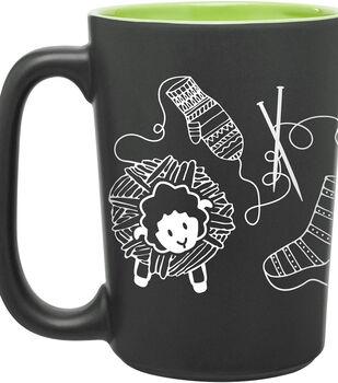 Knit Happy ScriBubblees Mug 10oz-Green