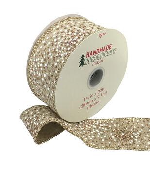 Handmade Holiday Christmas Ribbon 1.5''x30'-White & Gold Dots on Tan
