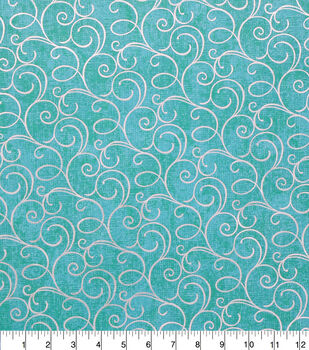 Keepsake Calico Cotton Fabric-Teal Foil Swirls