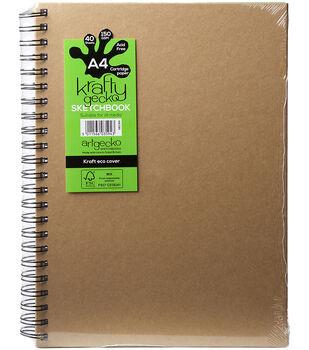 Artgecko Krafty Gecko A4 Twin Wirebound Hardback Sketchbook-Kraft