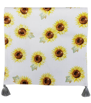 Simply Autumn 14''x72'' Table Runner-Yellow Sunflowers on White