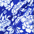 Double Brushed Poly Printed Knit Fabric-Femme Floral on Royal Blue