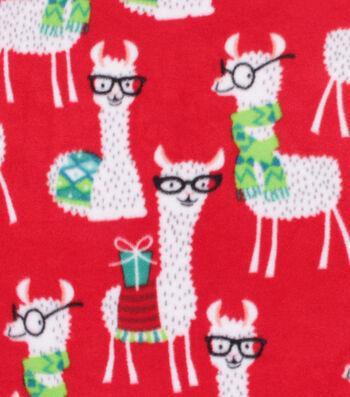 Christmas Anti-Pill Plush Fabric-Llamas