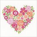 Vervaco Counted Cross Stitch Kit 7.25\u0027\u0027X6.75\u0027\u0027-Floral Heart