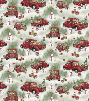 "Christmas Cotton Fabric 44""-Scenic Red Truck"