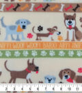 Anti-Pill Plush Fleece Fabric-Playful Dogs & Stripes