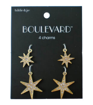 hildie & jo Boulevard 4 Pack Star Gold Charms-Clear Crystal