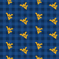 West Virginia University Moutaineers Cotton Fabric-Buffalo Plaid