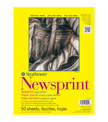 "Strathmore Rough Newsprint Paper Pad 9""X12""-32lb 50 Sheets"