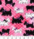 Snuggle Flannel Fabric 42\u0022-Scotties On Pink Plaid