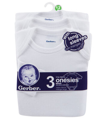 Gerber 3pk Long Sleeve Onesie-12M White