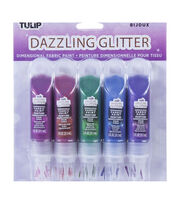 Tulip Dazzling Glitter Dimensional Fabric Paint 2oz 5/Pkg-Jewels, , hi-res