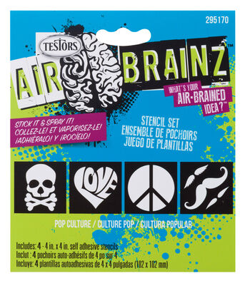 "AirBrainz Airbrush Stencils 4/Pkg-Pop Culture 4""X4"""