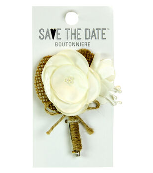Save the Date Boutonniere-Off White Petal Rose