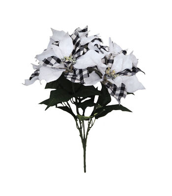 Blooming Holiday 21'' Buffalo Check Poinsettia Bush-White & Black