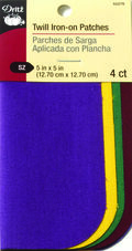Dritz Twill Patches - 5 X 5 - School Color Assorted 4Ct