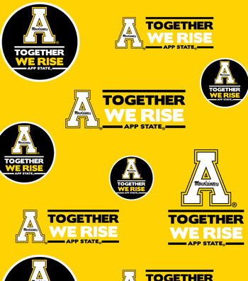 """Appalachian State University Mountaineers Cotton Fabric 44""""-Allover"""