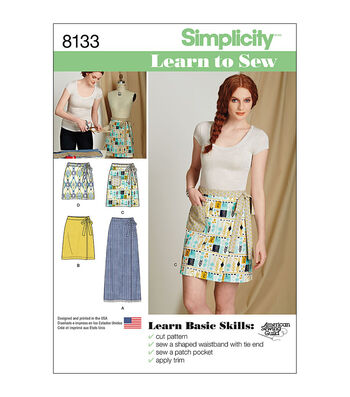 Simplicity Pattern 8133 Misses' Learn to Sew Wrap Skirts-Size A (6-18)