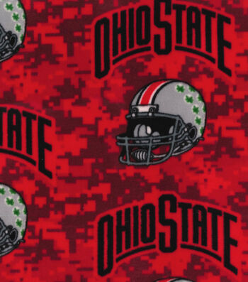 Ohio State Buckeyes Fleece Fabric -Helmets on Red