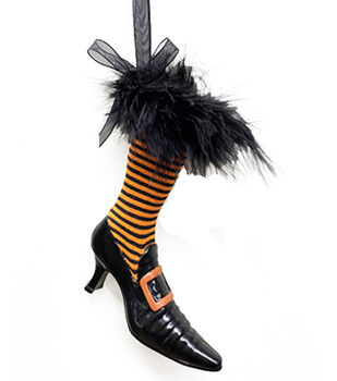 Maker's Halloween Witch Boot Ornament with Fur-Stripes