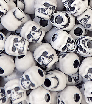 Skull Beads 250 pk-White Antique