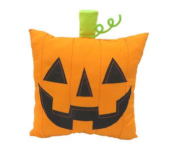 Maker's Halloween 18''x18'' Novelty Pillow with Stem-Jack-o'-lantern